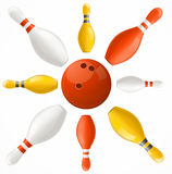 Boule de bowling dans des goupilles centrales réglées Vecteur illustration stock