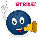 Boule de bowling de grève tenant un mégaphone Photo stock