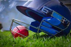 Boule de cricket à l'intérieur de casque de cricket boule de cricket sur un champ vert Le casque de cricket est employé comme pro image libre de droits