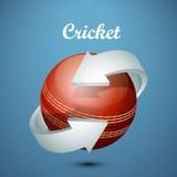 Boule de cricket avec la flèche Images stock