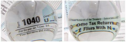 Boule de cristal 1040 de déclaration d'impôt Photographie stock libre de droits