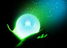 Boule de cristal sur la main image libre de droits