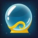 Boule de Crystall sur le fond bleu Image libre de droits