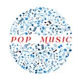 Boule de disco avec le symbole musican de notes et de marques Images stock