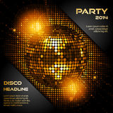 Boule de disco en or rougeoyant avec le texte témoin Photos stock