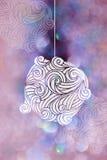 Boule de feu de dessin avec les milieux roses de bokeh pour le jour de Noël Image stock