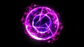 Boule de feu de plasma avec des flammes sur le fond noir belle lumi?re Lignes de lueur sous la forme de sphère Animation de boucl illustration de vecteur