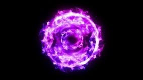 Boule de feu de plasma avec des flammes sur le fond noir belle lumi?re Lignes de lueur sous la forme de sphère Animation de boucl illustration stock