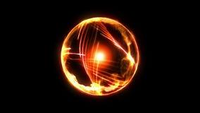 Boule de feu de plasma avec des flammes sur le fond noir belle lumi?re Lignes de lueur sous la forme de sphère Animation de boucl illustration libre de droits