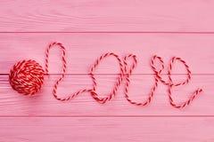 Boule de fil et d'amour de mot Photo libre de droits