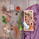Boule de fines herbes de compresse d'ingrédients naturels de station thermale et Ingredi de fines herbes Image stock