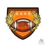 Boule de football américain dans la guirlande d'or moyenne de laurier sur le bouclier Logo de sport pour toute équipe ou concurre illustration de vecteur