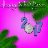 Boule de golf et 2017 sur une branche d'arbre de Noël Image stock