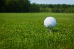 Boule de golf sur une pièce en t contre le terrain de golf avec l'espace de copie Images stock