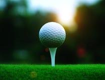 Boule de golf sur une pi?ce en t blanche dans une pelouse verte dans un match de golf photographie stock