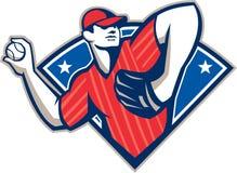 Boule de lancement de broc de base-ball rétro Image libre de droits