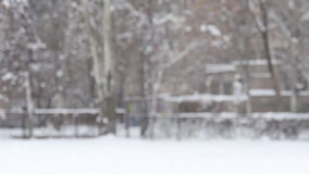 Boule de neige de projection de fille de l'hiver au sourire d'appareil-photo heureux ayant l'amusement à l'extérieur le jour de c banque de vidéos