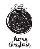 Boule de neige noire de Noël de salutation de croquis Image stock