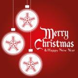 Boule de Noël avec le fond de vecteur d'ornements de flocons de neige Photo libre de droits