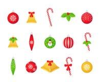Boule de Noël, cloche, houx, ensemble de canne de sucrerie Illustration de vecteur photographie stock