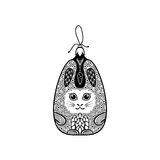 Boule de Noël comme le lapin décoré dans le style de zentangle Images stock