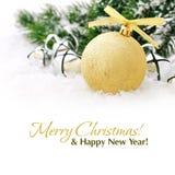 Boule de Noël d'or Images libres de droits