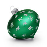 Boule de Noël de turquoise avec des flocons de neige d'isolement sur le backg blanc Photo stock