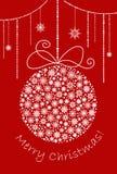 Boule de Noël et de nouvelle année faite à partir des flocons de neige illustration de vecteur