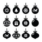 Boule de Noël, icônes de babiole de Noël réglées Photos stock