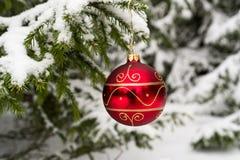 Boule de Noël sur le sapin couvert par neige photos stock