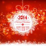 Boule de Noël sur un fond rouge illustration stock