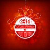 Boule de Noël sur un fond rouge illustration de vecteur