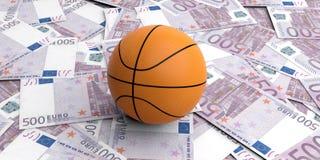 boule de panier du rendu 3d sur 500 billets de banque d'euros Image stock