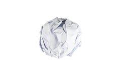 Boule de papier chiffonnée d'isolement sur le blanc Image libre de droits