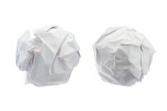 Boule de papier chiffonnée dessus d'isolement sur le fond blanc Images stock