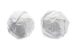 Boule de papier chiffonnée dessus d'isolement sur le fond blanc Photo stock