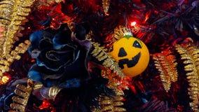 Boule de potiron et rose de noir sur l'arbre de Halloween Photographie stock libre de droits
