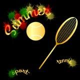 Boule de raquette de tennis d'été Photographie stock libre de droits