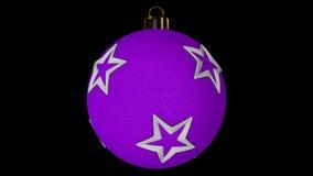 Boule de rotation rose de Noël avec des étoiles banque de vidéos