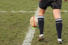 Boule de rugby sur une pièce en t Image libre de droits