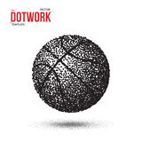 Boule de sport de basket-ball de Dotwork faite dans le style tramé Photos libres de droits