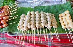 Boule de viande thaïlandaise de bâton, nourriture de rue Photo libre de droits