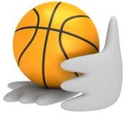 boule du basket-ball 3d dans des mains Images libres de droits