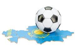 Boule du football avec la carte du concept de Kazakhstan, rendu 3D Photographie stock