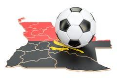 Boule du football avec la carte du concept de l'Angola, rendu 3D Photos stock