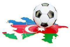 Boule du football avec la carte du concept de l'Azerbaïdjan, rendu 3D Image libre de droits