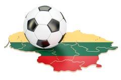 Boule du football avec la carte du concept de la Lithuanie, rendu 3D Photos libres de droits