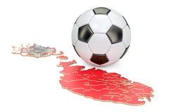 Boule du football avec la carte du concept de Malte, rendu 3D Images libres de droits