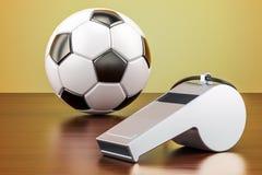 Boule du football avec le sifflement sur la table en bois, rendu 3D illustration libre de droits