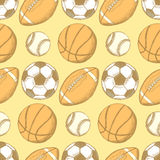 Boule du football, de football américain, de base-ball et de basket-ball Image libre de droits